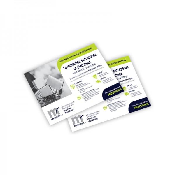 Cartons Publicitaires 4.25x5.5, 4/4 + Vernis AQ sur 16 pts