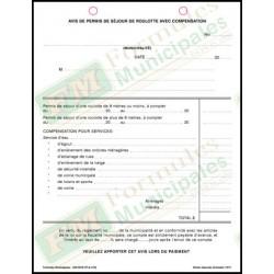 Avis de permis de séjour de roulotte avec compensation, 3 copies ncr (paquet de 25), FLA210/260-NCR