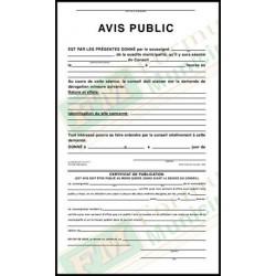 Avis public concernant une demande de dérogation mineure, 3 copies ncr avec certificat de publicatio, FLA217/265-B-NCR