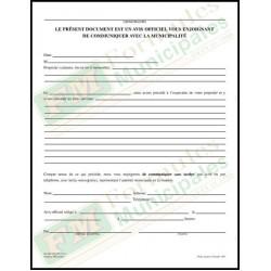 Avis officiel de communiquer avec la municipalité, 2 copies ncr (paquet de 25), FLA511/826-NCR